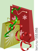 Подарочные пакеты для новогодних или рождественских подарков (иллюстрация) Стоковая иллюстрация, иллюстратор Марина Субочева / Фотобанк Лори