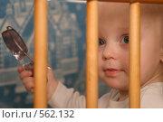 Купить «Ребёнок в детской кроватке», эксклюзивное фото № 562132, снято 26 января 2005 г. (c) Дмитрий Неумоин / Фотобанк Лори