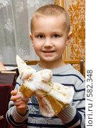 Купить «Мальчик с новогодней игрушкой», фото № 582348, снято 9 октября 2008 г. (c) Ольга Красавина / Фотобанк Лори