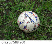Купить «Футбольный мяч на траве», эксклюзивное фото № 588960, снято 11 мая 2007 г. (c) lana1501 / Фотобанк Лори
