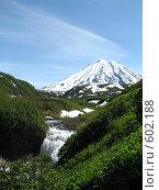 Купить «Камчатка, водопад», фото № 602188, снято 11 июля 2007 г. (c) Легкобыт Николай / Фотобанк Лори