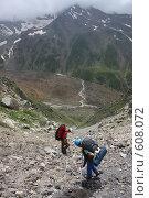 Купить «Спуск по камнеопасному кулуару, Кавказ», фото № 608072, снято 3 августа 2008 г. (c) Vladimir Fedoroff / Фотобанк Лори