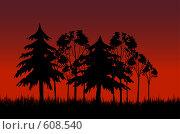 Вечерний лес. Стоковая иллюстрация, иллюстратор Александр Асланов / Фотобанк Лори