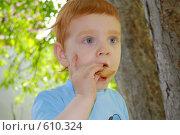 Мальчик ест печенье. Стоковое фото, фотограф Наталья Груздева / Фотобанк Лори