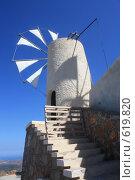 Купить «Ветряная мельница на фоне голубого неба, Греция, о.Крит, плато Ласити», эксклюзивное фото № 619820, снято 9 августа 2008 г. (c) Яна Королёва / Фотобанк Лори