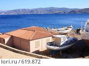 Купить «Рыбацкий домик и лодки на берегу моря, Греция, о.Крит», эксклюзивное фото № 619872, снято 9 августа 2008 г. (c) Яна Королёва / Фотобанк Лори