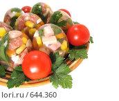 """Купить «Холодная закуска """"Заливные яйца """". Содержит обтравочный контур», фото № 644360, снято 2 января 2009 г. (c) Kribli-Krabli / Фотобанк Лори"""
