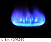 Купить «Горящий природный газ, на черном фоне», фото № 646580, снято 8 января 2009 г. (c) Алексей Романцов / Фотобанк Лори