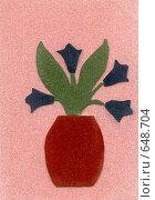 Купить «Детская аппликация: ваза с цветами», иллюстрация № 648704 (c) Анна Павлова / Фотобанк Лори