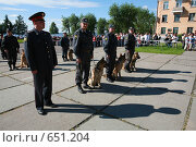 Купить «Милиционеры со служебными  собаками», фото № 651204, снято 4 июля 2008 г. (c) Николай Гернет / Фотобанк Лори