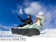 Купить «Молодая пара на сноуборде», фото № 654792, снято 6 января 2009 г. (c) Фурсов Алексей / Фотобанк Лори