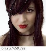 Купить «Девушка с бусами», фото № 659792, снято 1 декабря 2008 г. (c) Виктор Застольский / Фотобанк Лори