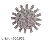 Купить «Изображение солнца, составленное из денежных купюр (номинал 500 рублей)», фото № 660952, снято 24 февраля 2020 г. (c) Тимур Ахмадулин / Фотобанк Лори