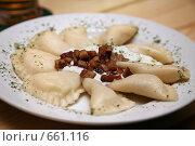 Купить «Пельмени с брынзой и шкварками.Словацкая кухня.», фото № 661116, снято 9 января 2009 г. (c) Gagara / Фотобанк Лори