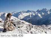 Купить «Девушка в горах. Кабардино-балкарская республика», фото № 666436, снято 2 января 2009 г. (c) Наталья Чуб / Фотобанк Лори