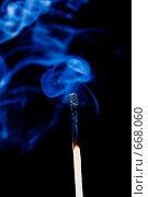 Купить «Дым над потухшей спичкой.черный фон», фото № 668060, снято 19 февраля 2020 г. (c) Александр Fanfo / Фотобанк Лори
