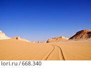 Пустыня Сахара, горы Акабат. Следы на песке от автомобиля (2008 год). Стоковое фото, фотограф Знаменский Олег / Фотобанк Лори