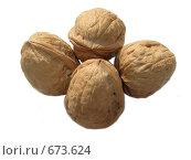 Целые грецкие орехи на белом фоне. Стоковое фото, фотограф Azaria Iounaev / Фотобанк Лори