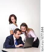 Купить «Коллеги: молодые бизнесмены в офисе», фото № 677844, снято 21 июля 2007 г. (c) Владимир Мельник / Фотобанк Лори
