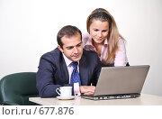Купить «Коллеги: молодые бизнесмены в офисе», фото № 677876, снято 21 июля 2007 г. (c) Владимир Мельник / Фотобанк Лори