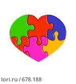 Купить «Валентинка. Сердечко из разноцветных пазлов», иллюстрация № 678188 (c) Владимир Сергеев / Фотобанк Лори