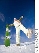 Купить «Девушка со сноубордом», фото № 679548, снято 6 января 2009 г. (c) Фурсов Алексей / Фотобанк Лори