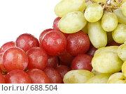 Купить «Грозди красного и зеленого винограда на белом фоне», фото № 688504, снято 24 августа 2008 г. (c) Мельников Дмитрий / Фотобанк Лори