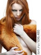 Девушка в меховой накидке. Стоковое фото, фотограф Serg Zastavkin / Фотобанк Лори