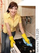 Купить «Девушка на кухне вытирает газовую плиту», фото № 703220, снято 14 февраля 2009 г. (c) Оксана Гильман / Фотобанк Лори