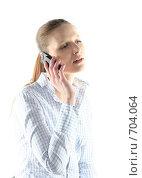 Купить «Девушка разговаривает по мобильному телефону», фото № 704064, снято 24 января 2009 г. (c) Наталья Белотелова / Фотобанк Лори