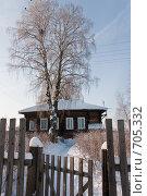 Купить «Деревянный деревенский дом зимой с забором и калиткой», фото № 705332, снято 1 февраля 2009 г. (c) Шахов Андрей / Фотобанк Лори
