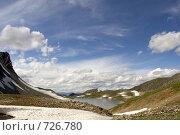 Купить «Небольшое озеро в горах. Восточные Саяны», фото № 726780, снято 8 августа 2006 г. (c) Сергей Пономарев / Фотобанк Лори