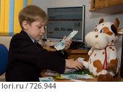 Купить «Мальчик рассказывает игрушечной корове о деньгах (финансовом кризисе)», фото № 726944, снято 1 марта 2009 г. (c) Тимур Ахмадулин / Фотобанк Лори