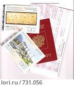 Купить «Загранпаспорт, билеты на самолет в Афины и билеты в музеи Греции», фото № 731056, снято 3 марта 2009 г. (c) Маргарита Лир / Фотобанк Лори