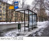 Купить «Москва. Автобусная остановка на 13-й Парковой улице», эксклюзивное фото № 733232, снято 26 февраля 2009 г. (c) lana1501 / Фотобанк Лори