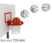 Купить «Мяч, летящий в корзину. Баскетбол», иллюстрация № 739464 (c) Арсений Васильев / Фотобанк Лори