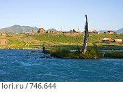 Купить «Деревня на берегу широкого горного потока», фото № 746644, снято 18 июля 2008 г. (c) Max Toporsky / Фотобанк Лори