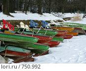 Купить «Катамараны и лодки в парке зимой», фото № 750992, снято 14 марта 2009 г. (c) Юлия Подгорная / Фотобанк Лори