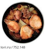 Купить «Жареные свинина и картофель на сковороде», фото № 752148, снято 3 сентября 2008 г. (c) Михаил Ковалев / Фотобанк Лори