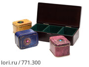 Купить «Декоративные коробочки с чаем», фото № 771300, снято 5 марта 2009 г. (c) Руслан Кудрин / Фотобанк Лори