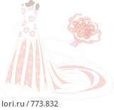 Свадебное платье с букетом роз. Стоковая иллюстрация, иллюстратор Смирнова Ирина / Фотобанк Лори