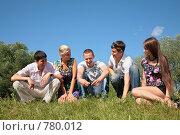 Пятеро молодых людей сидят на траве. Стоковое фото, фотограф Losevsky Pavel / Фотобанк Лори