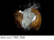 Разбивающийся кокос с всплеском молока, на черном фоне. Стоковое фото, фотограф Тамара Нагиева / Фотобанк Лори