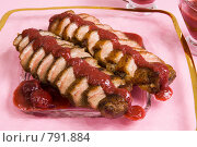 Купить «Утиная грудка в вишневом соусе, сверху», фото № 791884, снято 21 октября 2007 г. (c) Елена А / Фотобанк Лори
