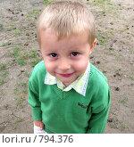 Купить «Мальчик в зеленом свитере», фото № 794376, снято 6 июля 2008 г. (c) Юлия Подгорная / Фотобанк Лори