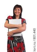 Купить «Девушка с ноутбуком», фото № 801440, снято 7 июня 2007 г. (c) Харитонова Ольга / Фотобанк Лори