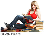Купить «Ученица с горой учебников», фото № 806676, снято 28 марта 2009 г. (c) Анатолий Типляшин / Фотобанк Лори