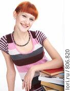 Купить «Студентка с книгами», фото № 806820, снято 7 марта 2009 г. (c) Анатолий Типляшин / Фотобанк Лори