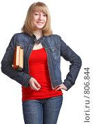 Купить «Ученица с учебниками», фото № 806844, снято 28 марта 2009 г. (c) Анатолий Типляшин / Фотобанк Лори