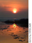 Восход солнца. Ледоход у слияния Оки и Волги. Стоковое фото, фотограф Igor Lijashkov / Фотобанк Лори